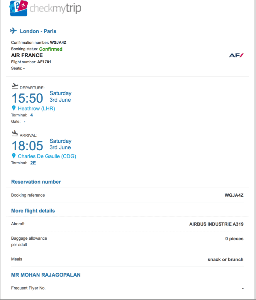 flight itinerary sample - Schengen visa