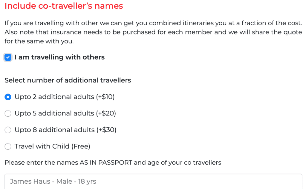 add additional travellers