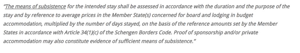 proof of accom schengen statement