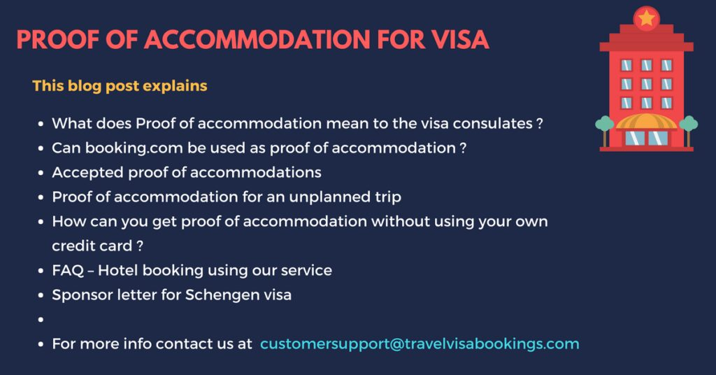 Proof of accommodation for visa application @just $19