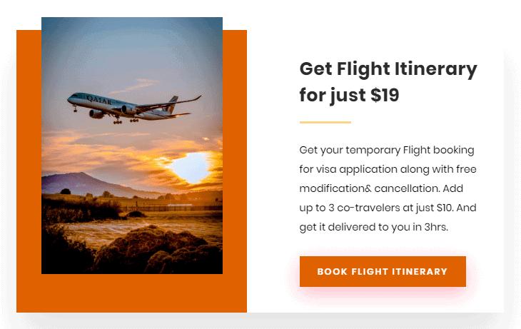 Temporary Flight itinerary