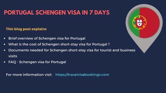 Portugal Schengen visa in 7 days