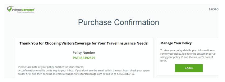 Insurance confirmation