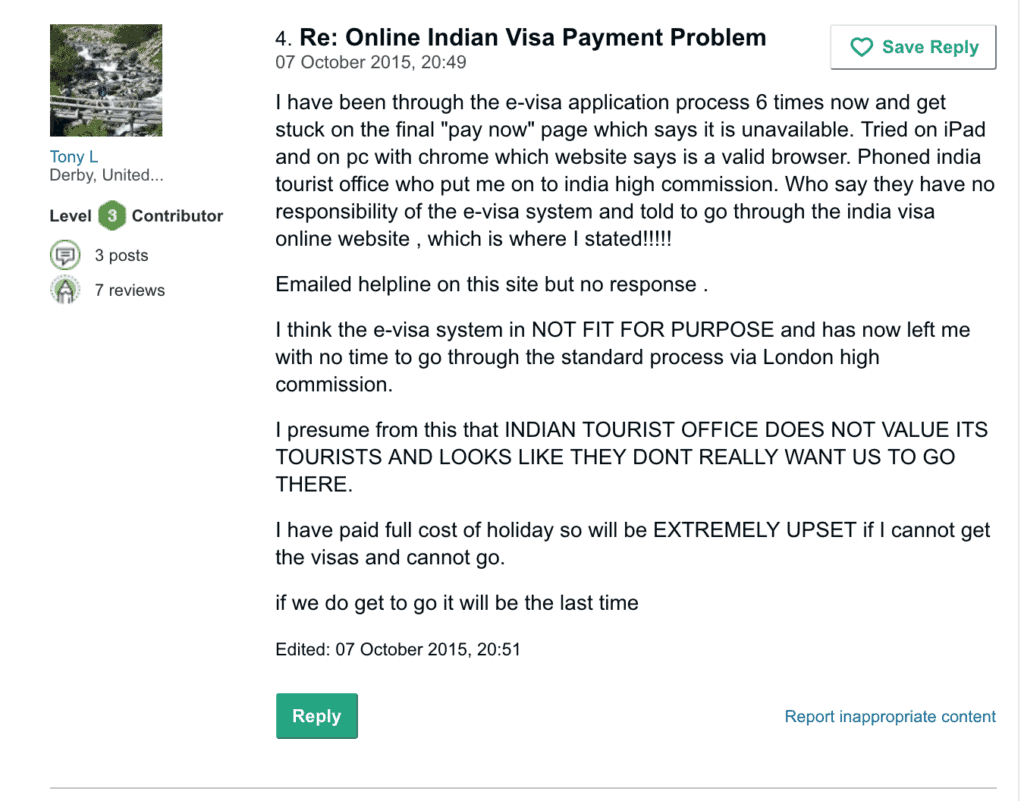 problems faced on India visa portal