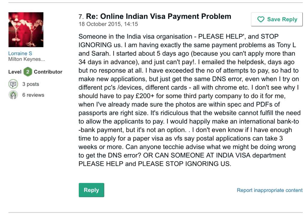 problems faced on India visa portal 2