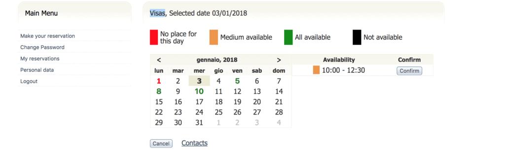 select date italy visa