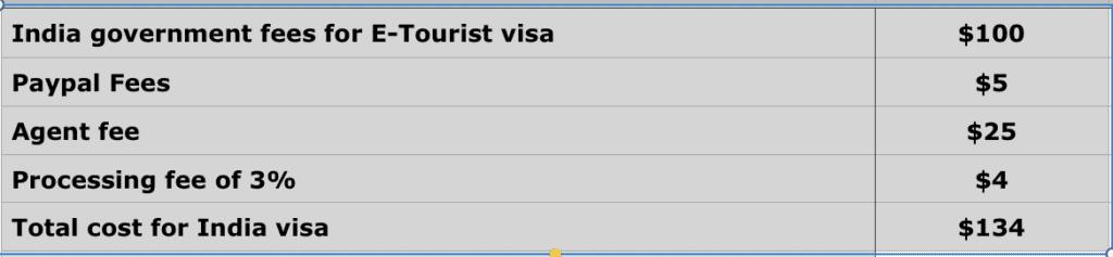 india visa price