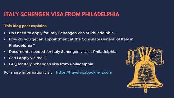 Italy Schengen Visa From Philadelphia