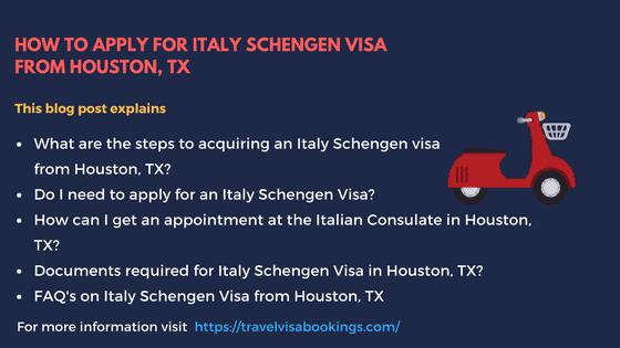Itlay Schengen Visa from Houston, TX