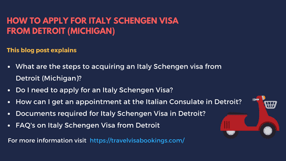 How to Apply for Italy Schengen Visa from Detroit, MI