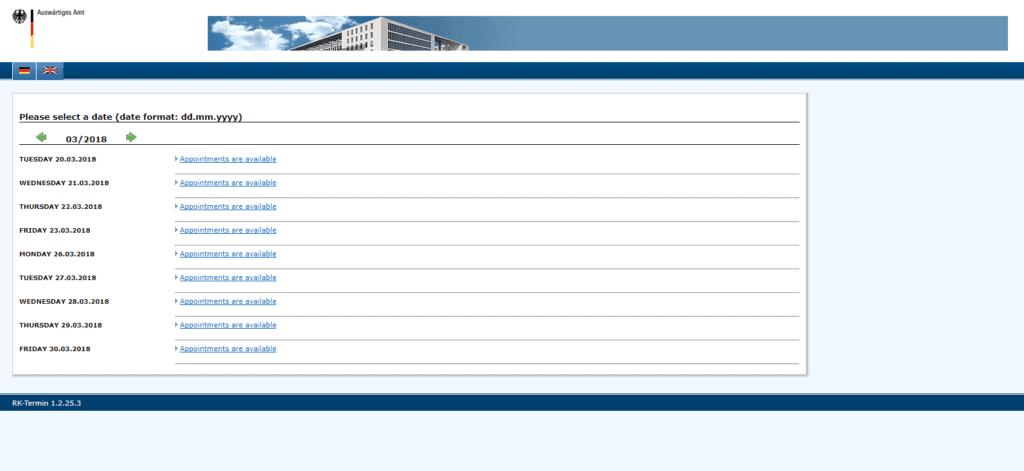 LA visa application procedure dates