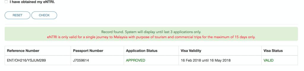 Malaysia visa record found
