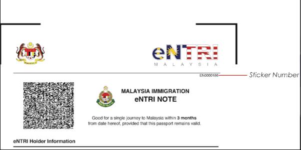 malaysia evisa/entri note sticker letter
