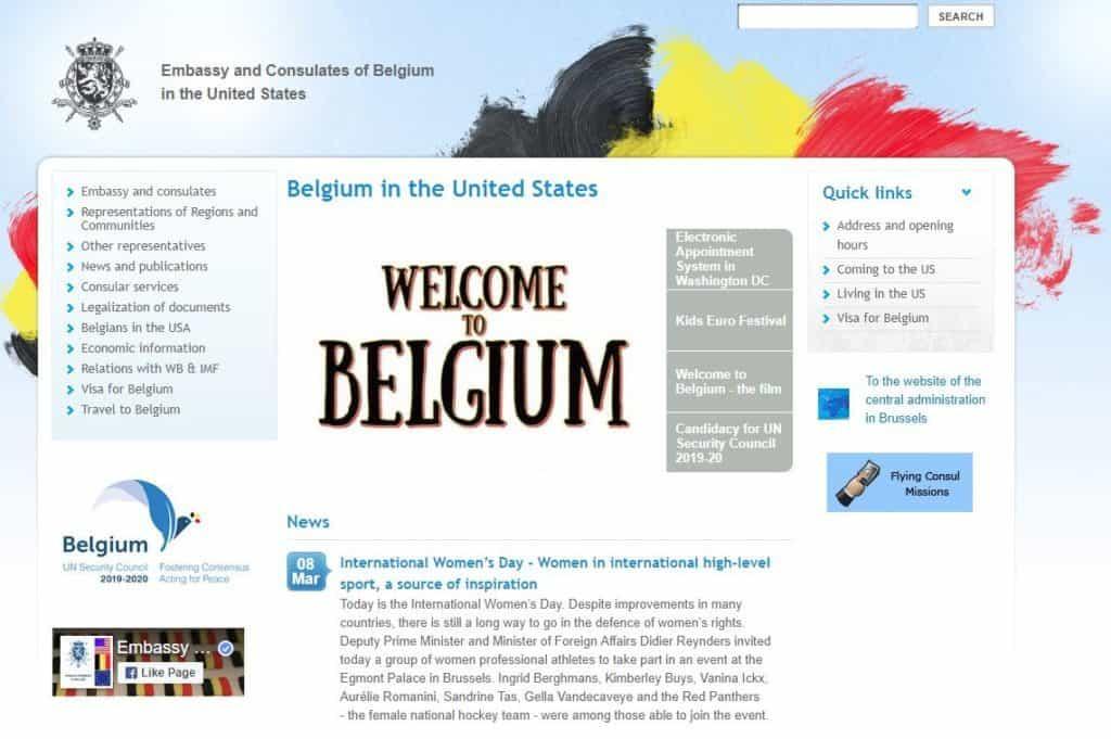 US Belgium consulate website