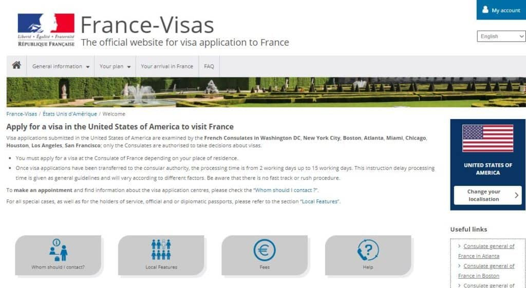 Contact page for France visa