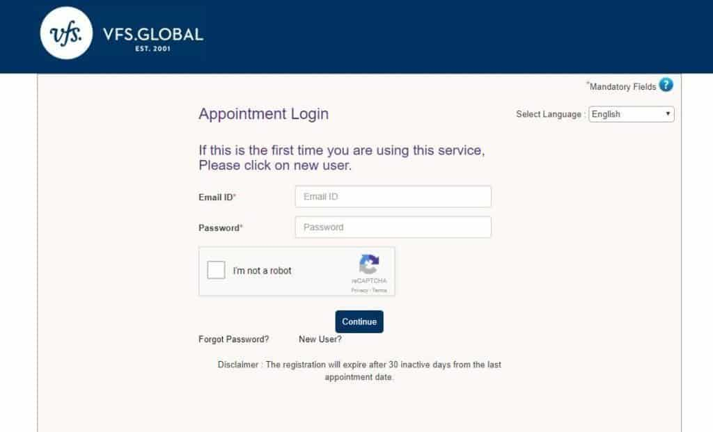 Appointment Login Page - consulate general of Netherlands in the US