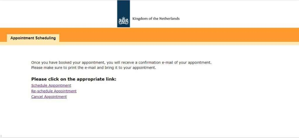 Online appointment booking system - consulate general of Netherlands in the US