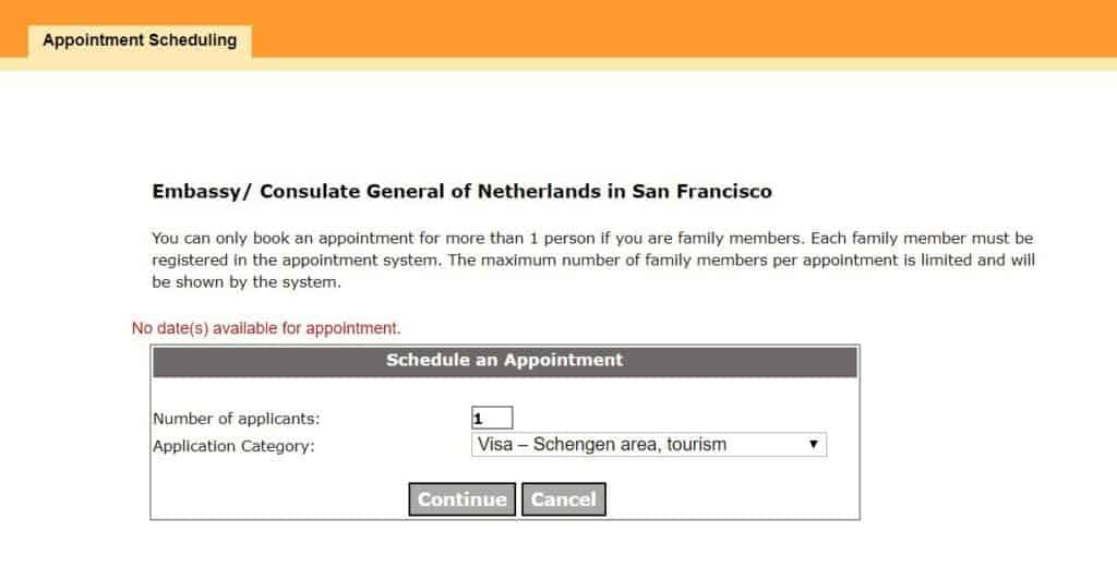 Select date - consulate general of Netherlands in San Francisco