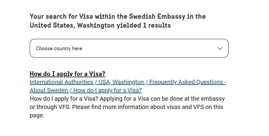 How do I apply for a Visa, embassy of Sweden in Washington DC