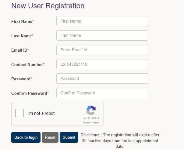 New user registration, VFS global site