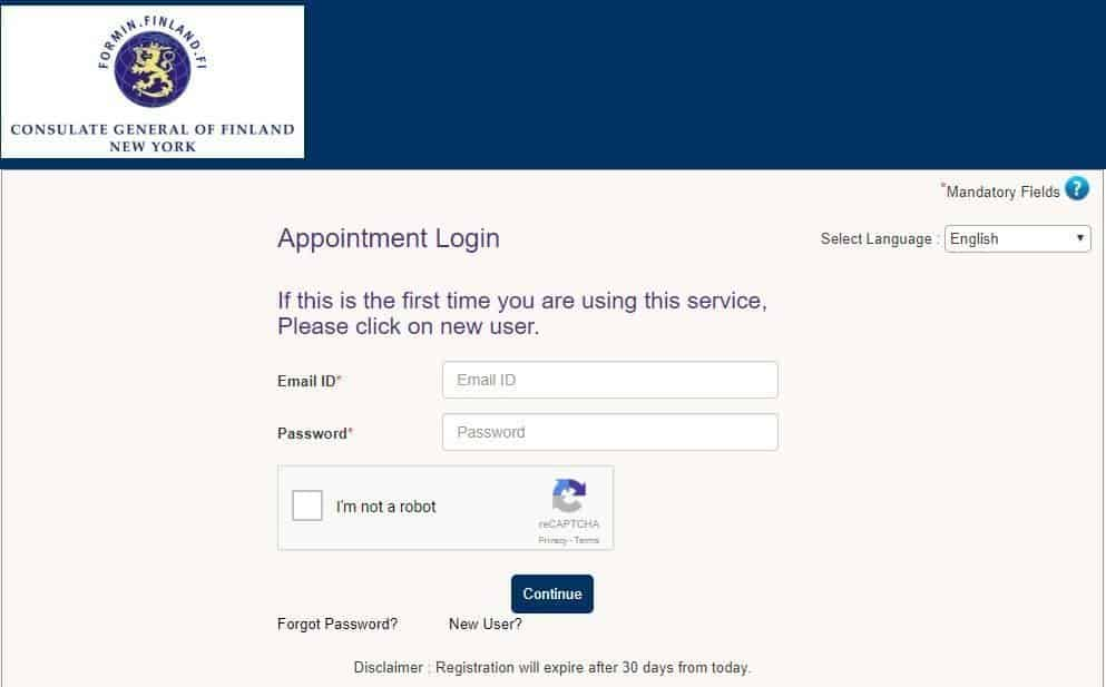 VFS Global Login Page - Finnish consulate in New York