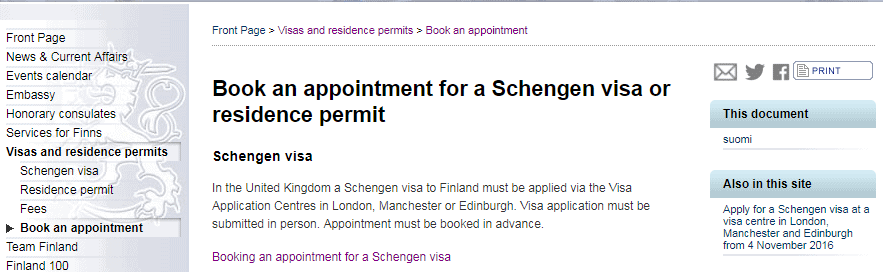 Booking an appointment for a Schengen visa - embassy of Finland in London