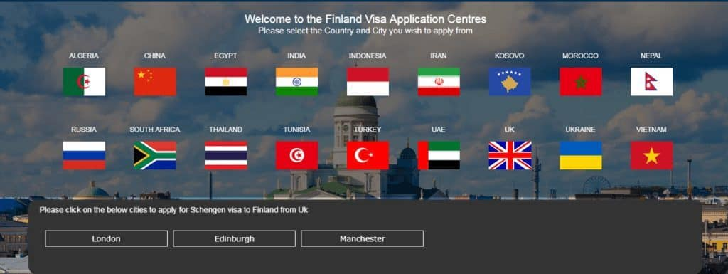 Choosing UK and London on VFS Global Finland schengen visa application page