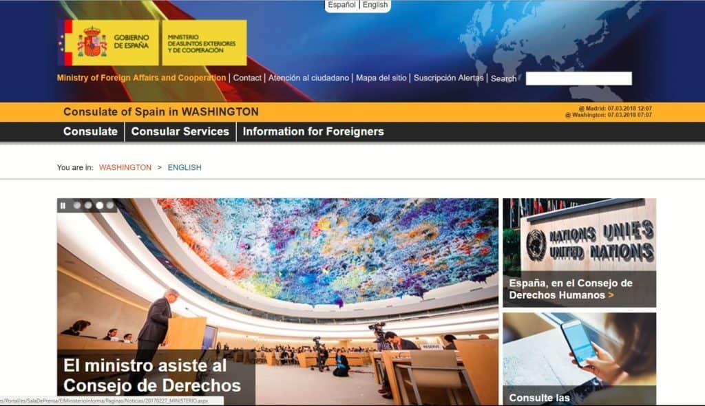 Spanish consulate in Washington DC, translated to English