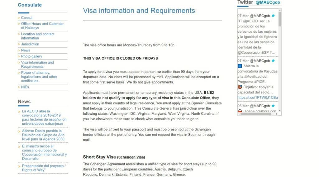 Visa information and requirements, Spanish consulate in Washington DC