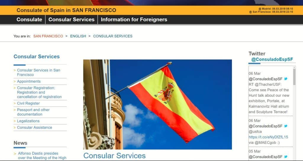 Official Spanish consulate website in San Francisco