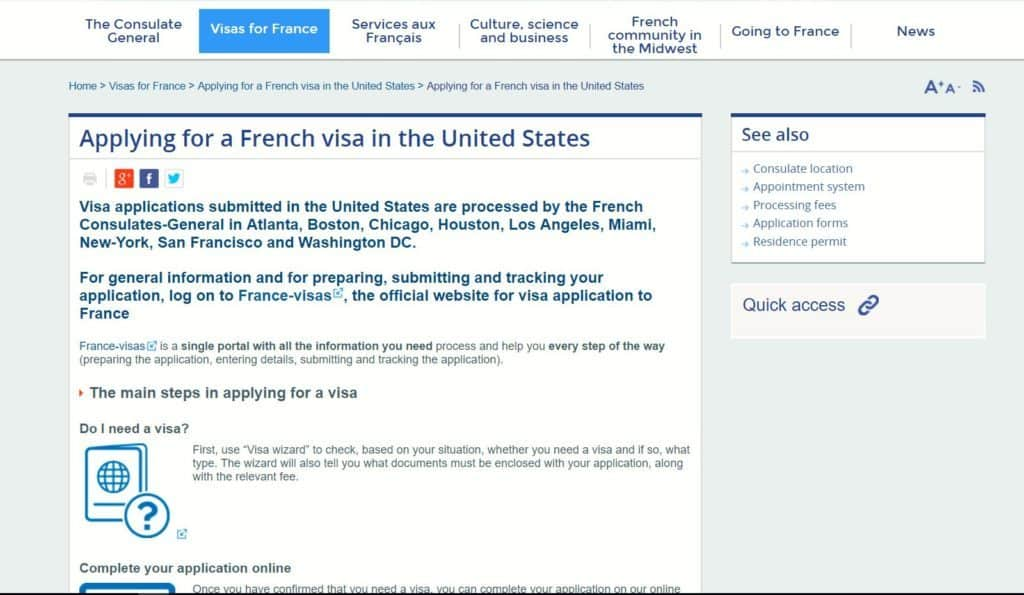 Apply for French visa from the US