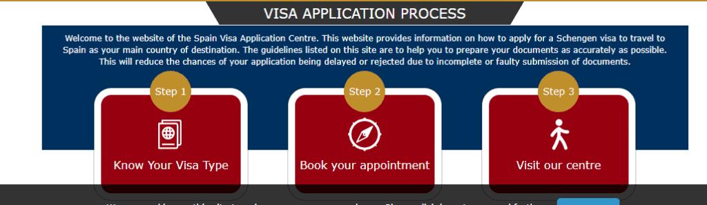 Spain schengen visa appointment booking page, Edinburgh