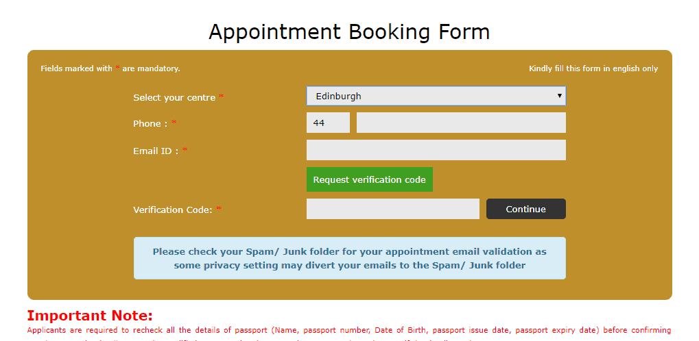 Appointment Booking Form - Spain Schengen visa from Edinburgh