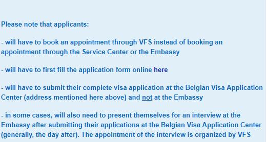Visa application form link for Belgium Schengen visa from Manila