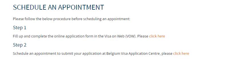 Appointment link for Belgium Schengen visa application from Manila
