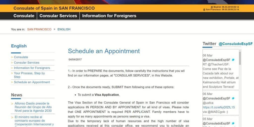 Scheduling an appointment at the Spanish consulate in San Francisco