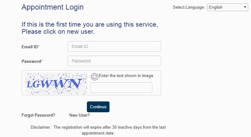 Appointment login credentials for Belgium Schengen visa from Manila