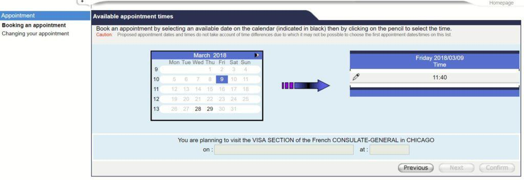 Select time and slot - French consulate in Chicago