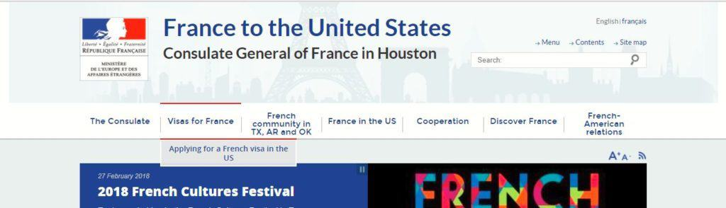 Choose 'Applying for French Visa in the USA'