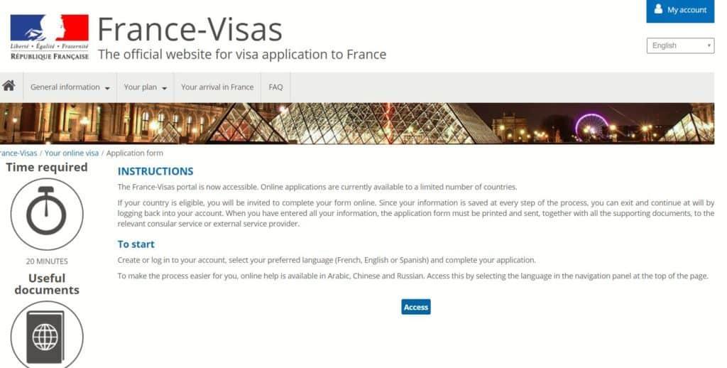 French visa portal access
