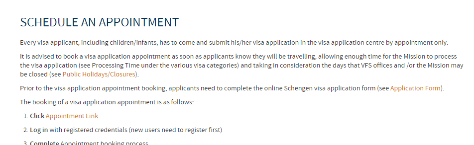 Book an appointment link - Austria Schengen visa from London
