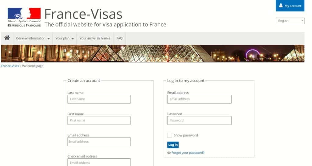 Create an account at the French consulate of Houston