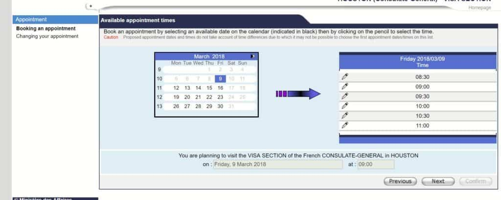 Choosing a date and time - French consulate Houston appointment