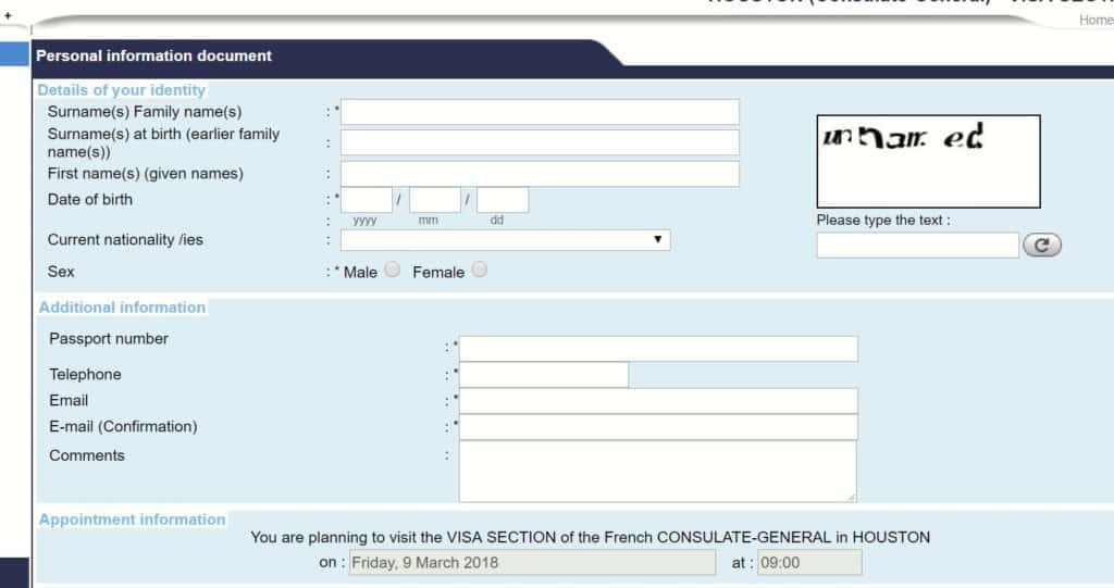 Appointment Application Form - French consulate in Houston