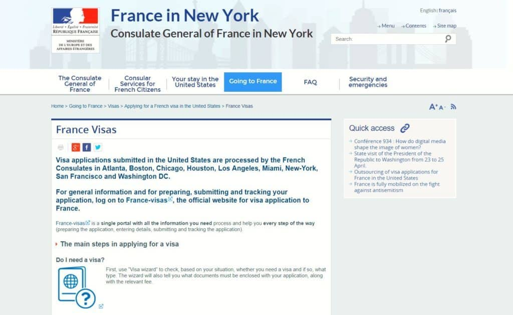 French consulate in NY visa page