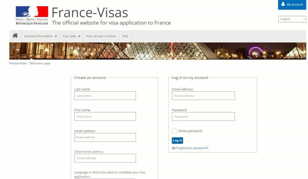 create your account - France visa portal