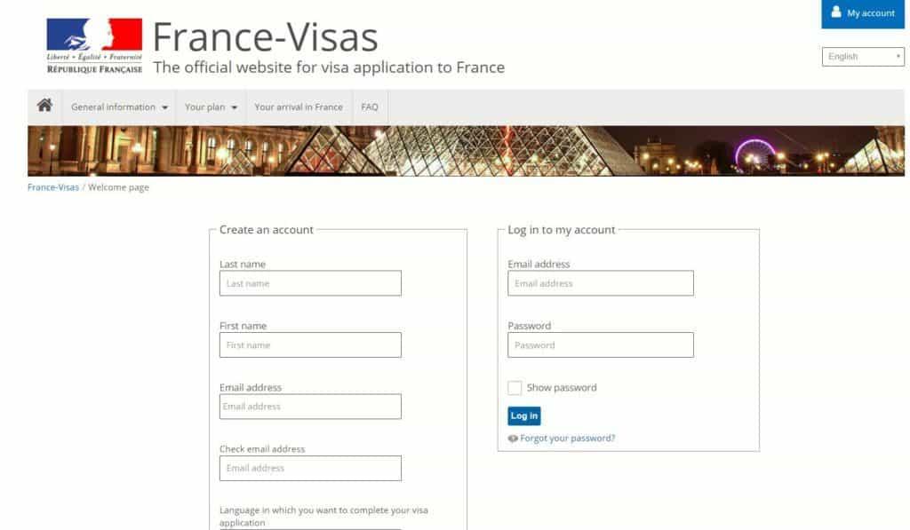 create your account - France visa portal