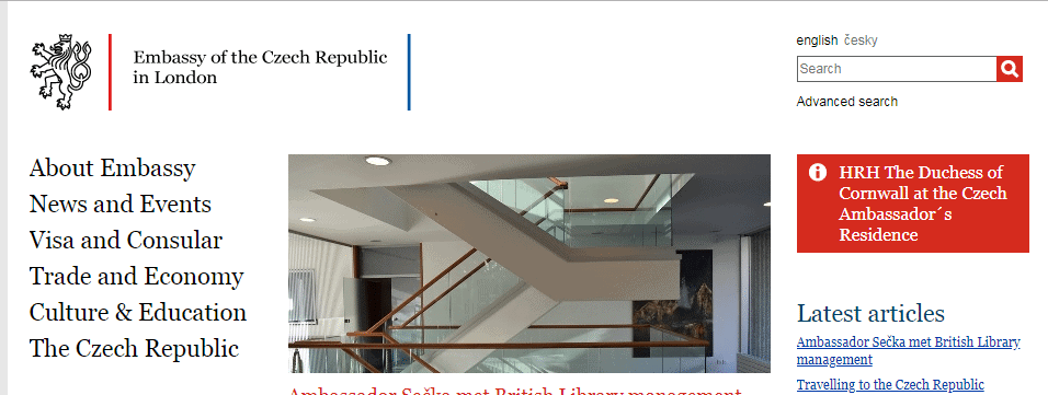 official website of the embassy of the Czech Republic in London