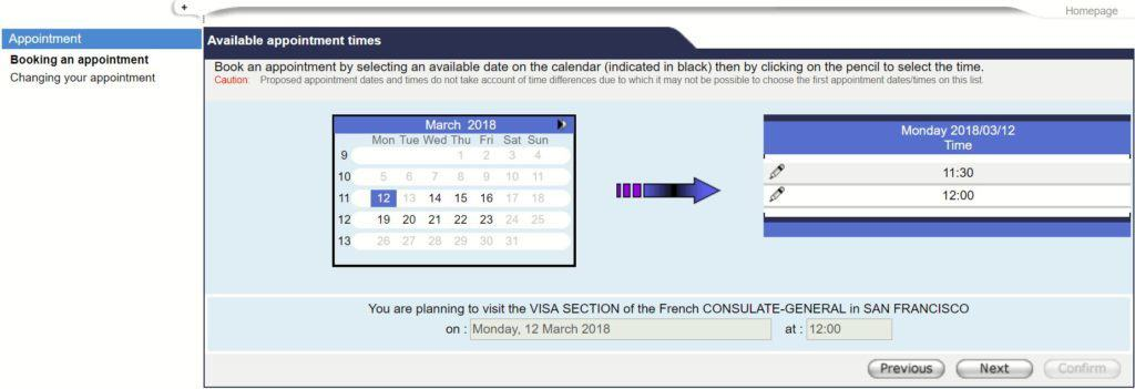 Select date and time - French consulate in San Francisco