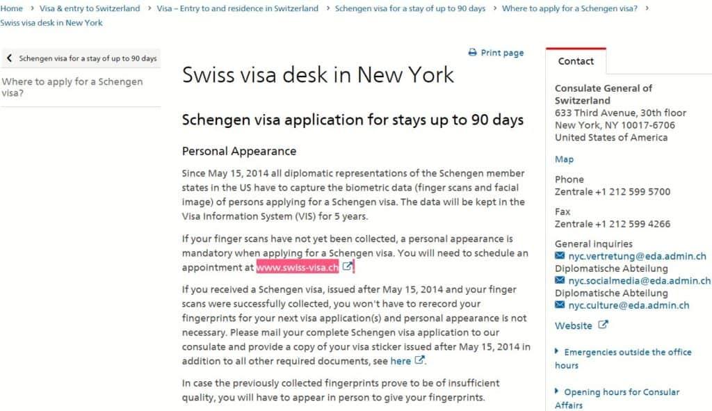 How I applied for Switzerland Visa from New York Easily?
